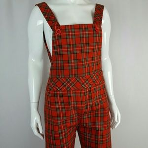 Vintage 70's Red Plaid Overalls